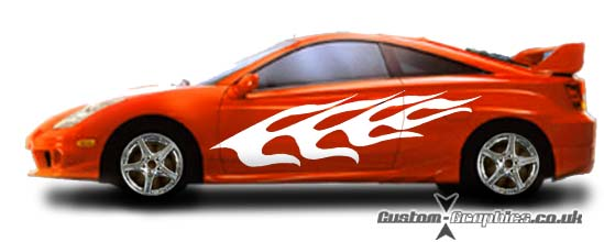 CustomGraphicscouk FULLSIDE FLAMES Decals And Vinyl Graphics - Vinyl decals for cars uk